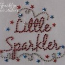 Rhinestone Iron On Transfer LITTLE SPARKLER JULY 4 USA