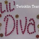 Rhinestone Iron On Transfer RETRO LIL DIVA PINK FLOWERS