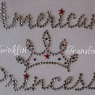 Rhinestone Hot Iron On Transfer AMERICAN PRINCESS TIARA