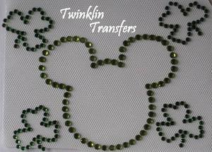 Rhinestone Transfer Hot Fix Iron On MICKEY w/ SHAMROCKS
