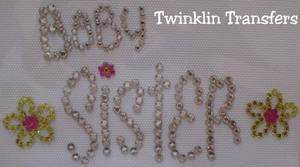 Rhinestone Hot Iron On Transfer BABY SISTER FLOWER PINK