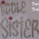 Rhinestone Iron On Transfer MIDDLE SISTER FLOWER PINK