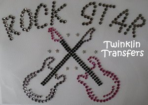 Rhinestone Transfer Iron On ROCK STAR GUITAR HOT PINK