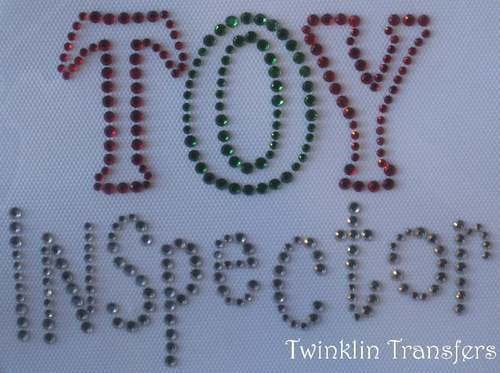 Rhinestone Transfer Iron On CHRISTMAS TOY INSPECTOR