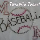 Rhinestone Transfer Iron On Hot Fix BASEBALL MOM PINK