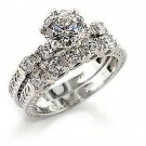 New Rhodium Plated  Clear CZ Wedding Ring Set