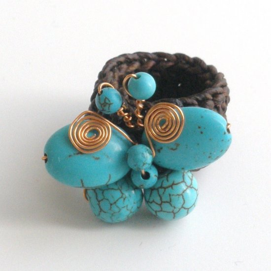 Turquoise Butterfly Ring