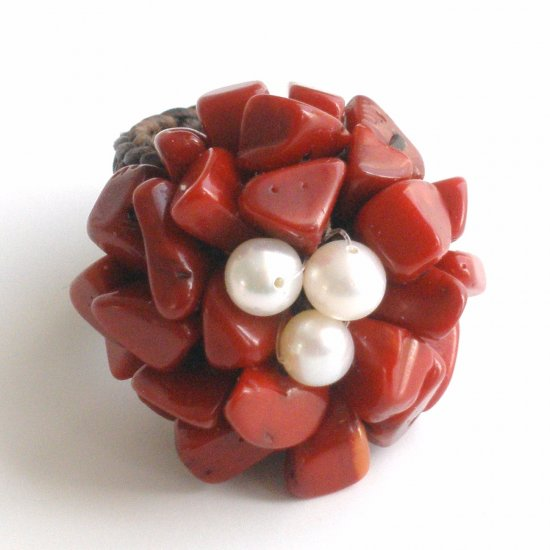 Red Jasper  and Pearl Ring