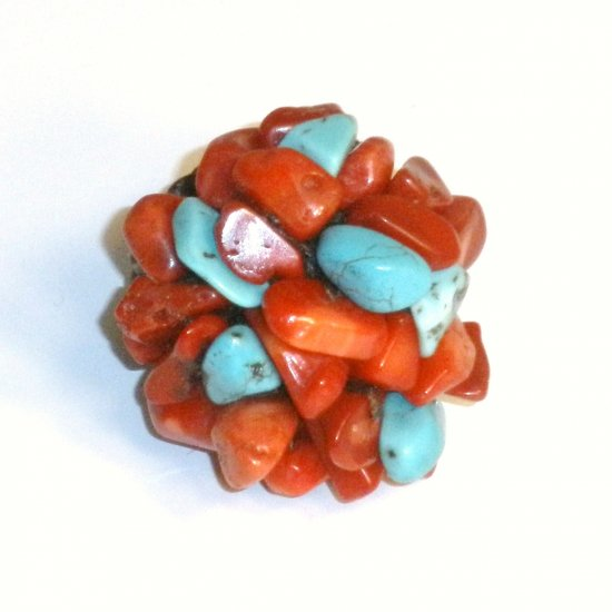Turquoise and red Jasper Ring
