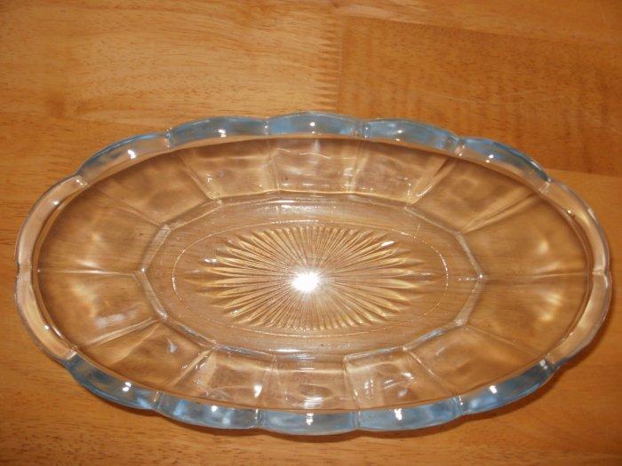 Cut Glass Oblong Light Blue Candy Dish