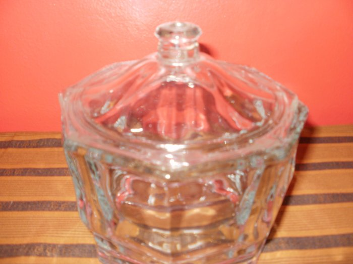 Cut Glass Octagon Shaped Candy Dish with Lid