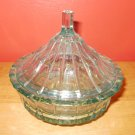 Cut Glass Turquoise Colored Candy Dish with Lid
