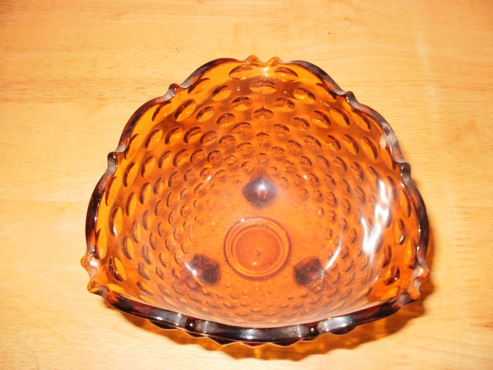 Cut Glass Brown Triangle Shaped Candy dish