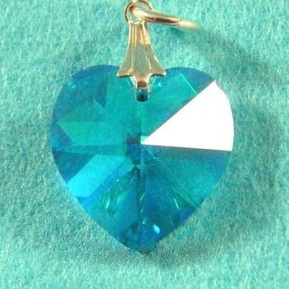 SWAROVSKI CRYSTAL HEART PENDANT AQUA BLUE 20MM
