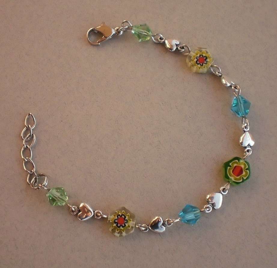 Multi Color Light Blue Green Heart Floral Murano Glass Crystal Beads Bracelet