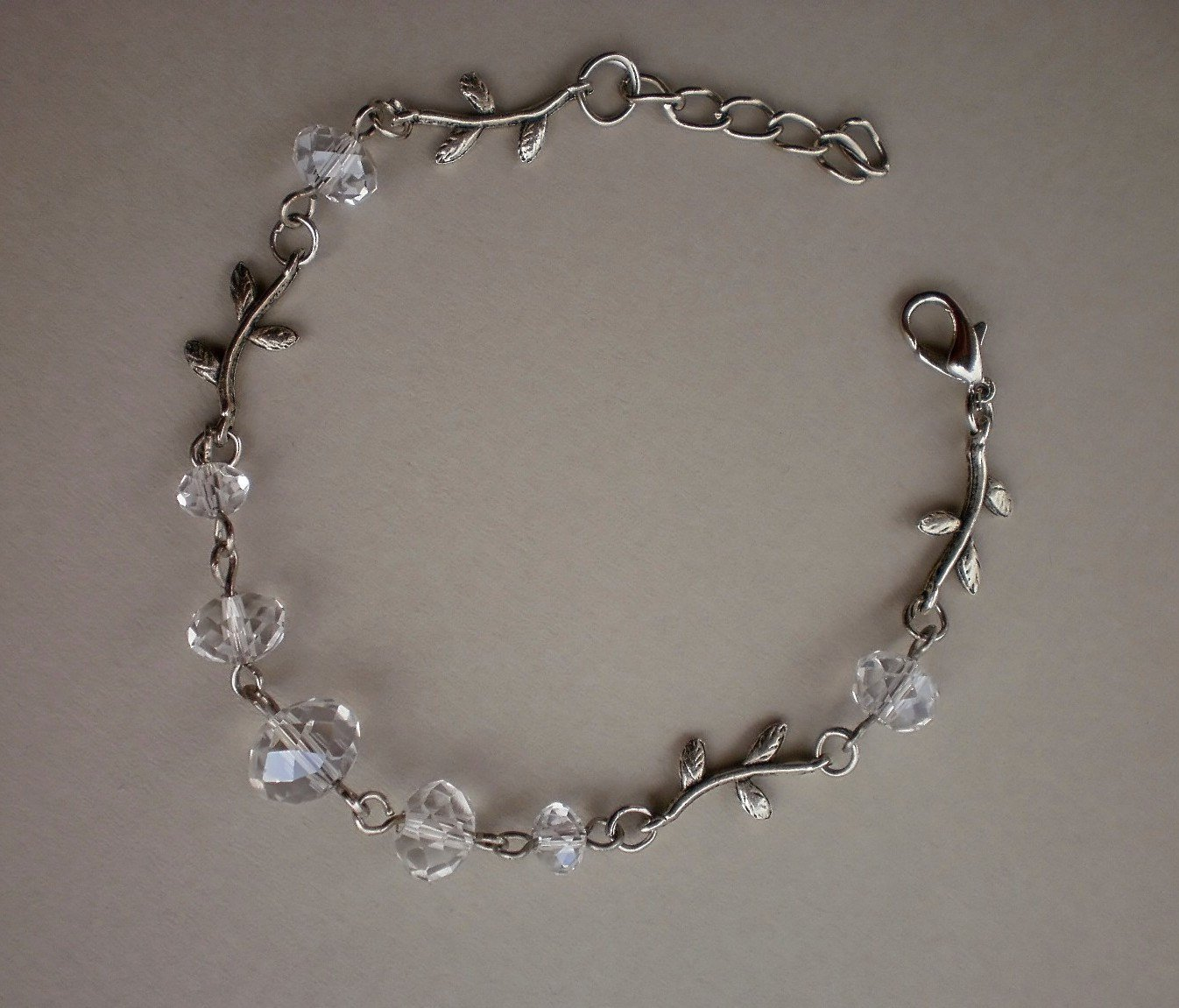 Crystal Transparend Beaded Bracelet Handcrafted Designer Jewelry/ Flowers Leafs