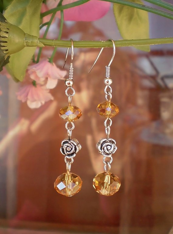 """Crystal Beaded Earrings """"Golg Autumn"""" Dangle Earrings with Roses Handcrafted Unique Designer Jewelry"""