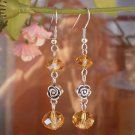 "Crystal Beaded Earrings ""Golg Autumn"" Dangle Earrings with Roses Handcrafted Unique Designer Jewelry"