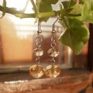 Crystal Earrings in Autumn Brown Gold Beaded Handcrafted Designer Jewelry
