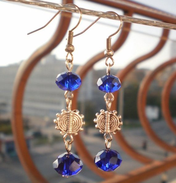 Beautiful Dark Cobalt Crystal Earrings Dangle Sun Earrings Elegant Handcrafted Unique Design Jewelry