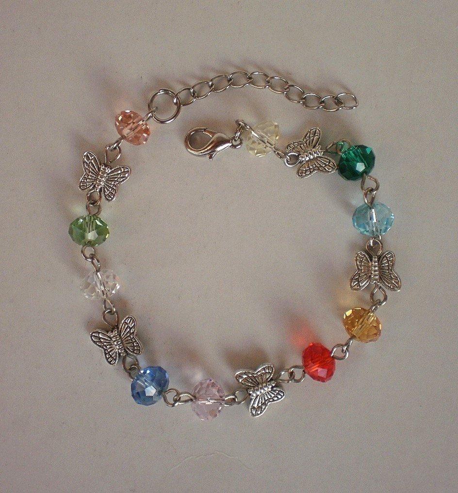 Crystal Beaded Colorful Bracelet Handcrafted Designer Jewelry/ Butterfly Bracelet Butterfly Jewelry