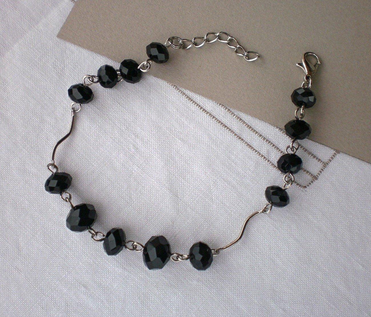 Black Jet Faceted Crystal Beaded Bracelet Handcrafted Designer Jewelry Black Crystal Beaded Jewelry