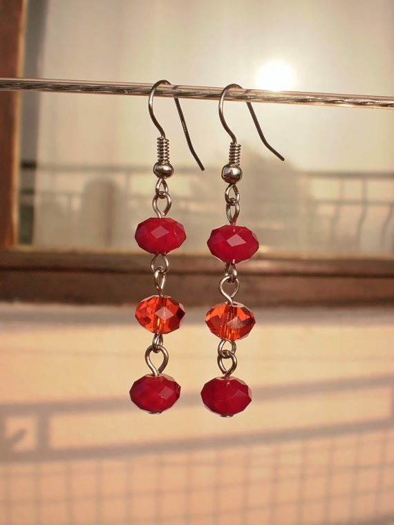 Raspberry Red Light Siam Crystal Beaded Earrings Handcrafted Designer Jewelry Unique Gift