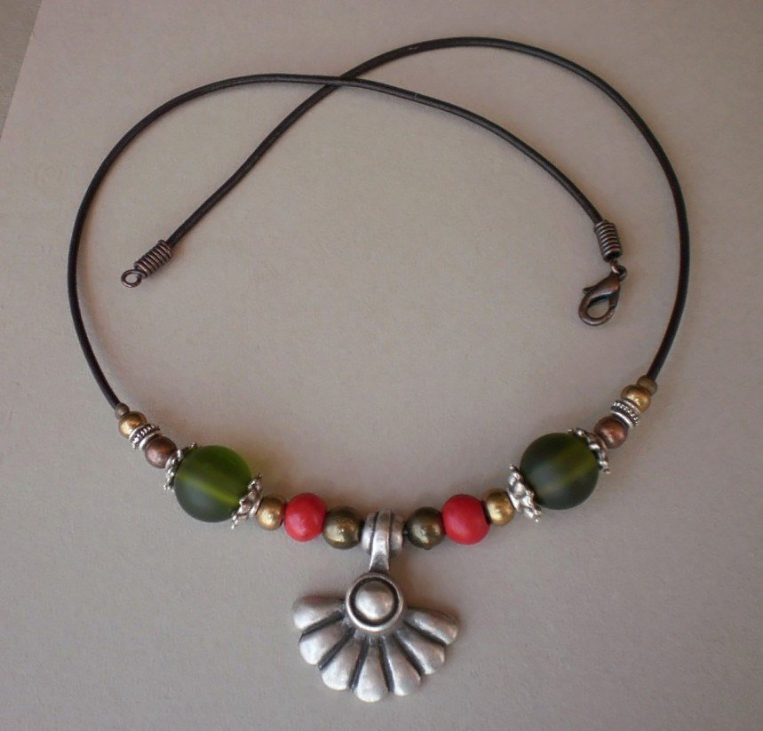Necklace Copper Antique Silver Bronze Beads Olivine Green Glass Beads Red Beads Silver Pendant