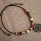 Necklace Copper Silver Bronze Beads Pale Yellow Dark Purple Red Ceramic Beads Bronze Pendant