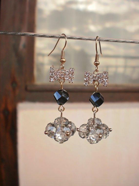 Crystal Beaded Earrings Hard Coal & Smoky Grey Crystal Bows Earrings Handcrafted Designer Jewelry