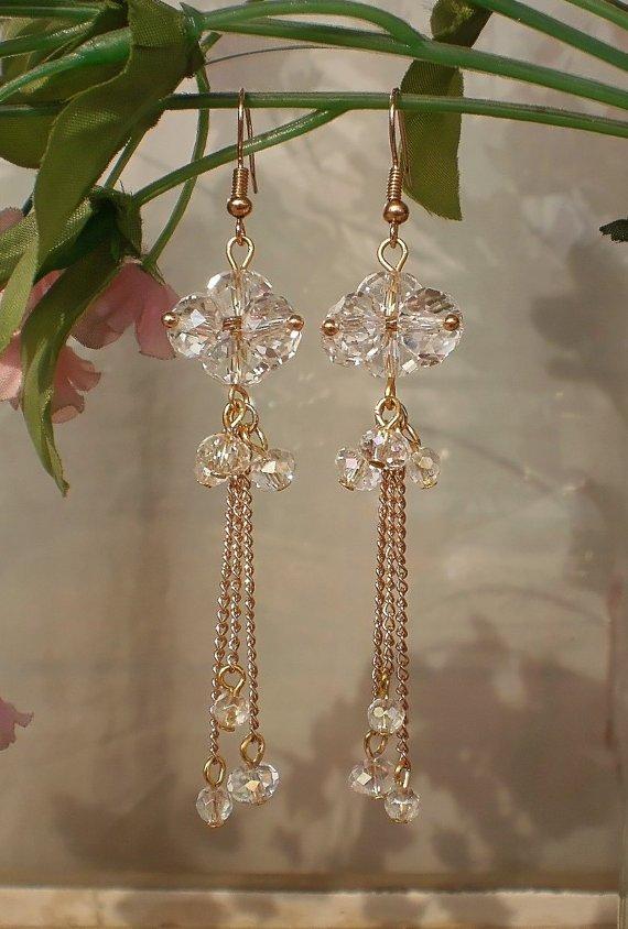 Original Transparend Crystal Beaded Dangle Gold Earrings Beautiful Handcrafted Designer Jewelry