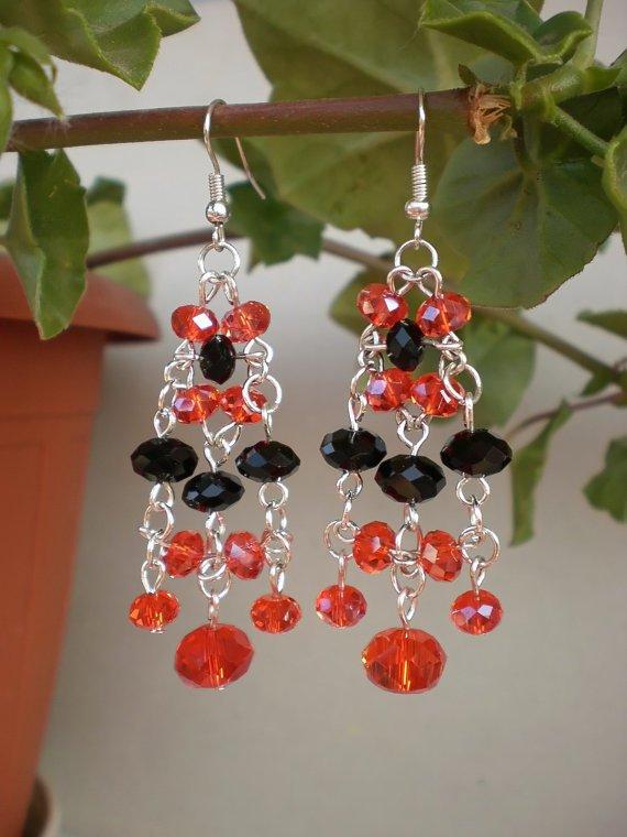 Wonderful Earrings Orange/ Brigth Red & Jet Black Crystal Beaded Dangle Earrings Original Jewelry