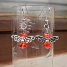 Original Earrings Red Bees, bee Butterfly Crystal Beaded Dangle Earrings Handcrafted Gift Jewelry
