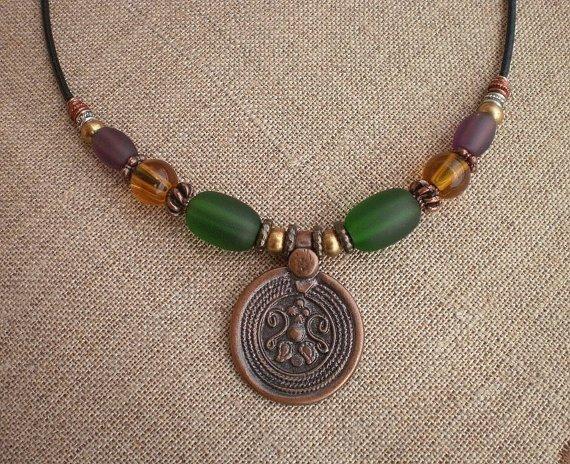 Necklace Copper Silver Bronze Beads Med Emerald Green Purple Topaz Glass Beads Copper Pendant