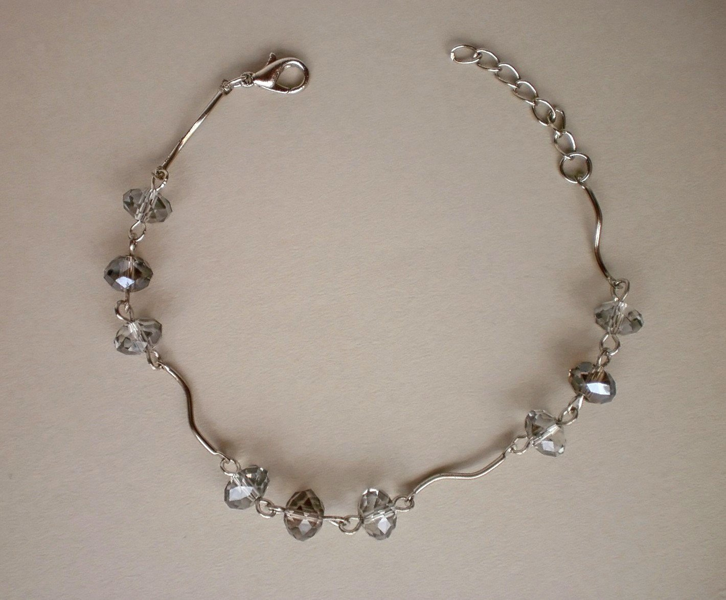 Crystal Beads Smoky Quartz / Satin Crystal Beaded Bracelet Handcrafted Designer Gift Jewelry