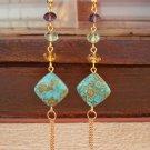 Color Crystal Beaded Long Earrings Gemstone Beadwork Earrings Handcrafted Designer Jewelry