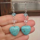 Turquoise Semi-Precious & Blue Zircon Crystal Beaded Earrings  Heart Dangles Jewelry