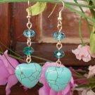 Turquoise Semi-Precious & Emerald Blue Zircon Crystal Beaded Earrings  Heart Dangles Earrings