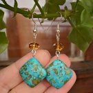 Natural Mosaic Turquoise Blue Earrings  Crystal Beaded Earrings  Beadwork Handcrafted Jewelry