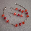 Light Siam/ Dark Red Coral Crystal Braselet & Earrings Handmade Bracelet Handmade Jewelry Gift