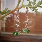 Peridot Green Crystal Beaded Earrings Handcrafted Designer Gift Jewelry Flower Leaft