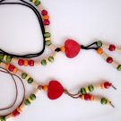 Natural Wood Necklace Heart Pendant Wood Summer Mix Colors Wooden beaded necklace