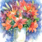 Orange flowers Watercolor panting Floral print Realistic style Summer garden Home decor Illustration