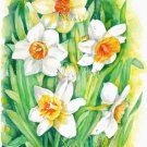 Daffodils Print Watercolor Panting Floral Painting Realistic Spring Flowers Garden Home Decor