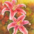Lilium Watercolor painting Floral print Realistic pink flowers Sommer garden Fine art Home decor