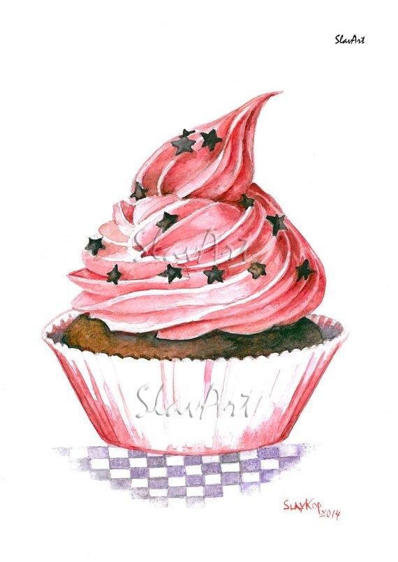 Still Life Cupcake Print Watercolor Painting Fine Art Food Home Decor