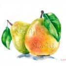 Fruit Art Painting Pears Still Life Food Print Watercolor Fine Art Home Decor Realistic Kitchen art