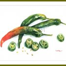 Greens Art - Painting of Peppers Food Still Life Print Watercolor Home Decor Realistic Kitchen art