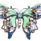 Butterfly Crystals Blue Vintage Style Brooch Metal Pin Sapphire Sand AB Swarovski Jewels