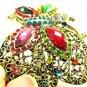 Butterfly Swarovski Crystal Metal Bangle Bracelet Antiqued Gold Filigree Rainbow Colors